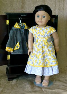 American Girl, 18 inch doll clothes: Summer dress in yellow and grey with matching jacket. $49.00.