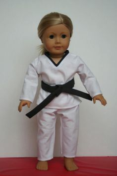 * Arts and Crafts for your American Girl Doll: free pattern and tute for Taekwondo outfit for American Girl Doll Sewing Doll Clothes, Girl Doll Clothes, Girl Dolls, Ag Dolls, Sewing Dolls, Boy Doll, American Girl Crafts, American Doll Clothes, American Girls