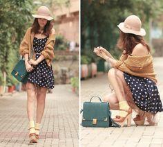 Black polka dots dress