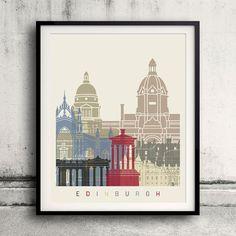 Edinburgh skyline poster  Fine Art Print Glicee by Paulrommer