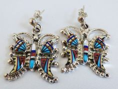 Artist PM signed Zuni Multi stone inlay Sterling Silver .925 Butetrfly earrings