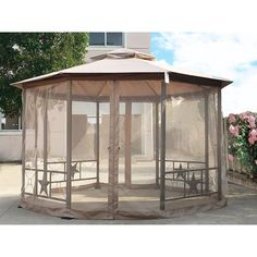 Cloud Mountain Outdoor Gazebo Ft Patio Gazebo with Mosquito Netting Polyester Fabric Double Roof Vented Garden Gazebo Octagonal Canopy Tent for Backyard, Event, Party, BBQ(Sand) Gazebo Canopy, Gazebo Pergola, Outdoor Gazebos, Garden Gazebo, Canopy Outdoor, Pergola Kits, Backyard Patio, Outdoor Gardens, Patio Roof