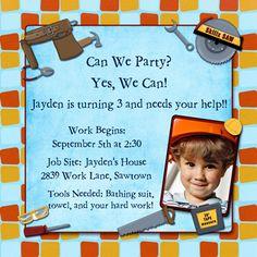 Tool Themed Birthday Party Invitation Idea