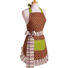 A polka-dot theme makes this apron fun for all ages. This apron has solid green lining and is double layered 100-percent cotton for durability in the kitchen. Long, thick ties lend a polished dimension to the waist while allowing adustable length.
