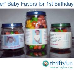 "For my daughter's first birthday party, I made her into the ""Gerber"" baby by creating new ""labels"" for the jars. I started with a Word document and inserted a picture of her from my Kodak files."