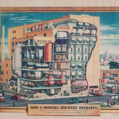 """Big news today! We're launching a new initiative to collect document and preserve America's brewing history. Enjoy this sip of #BeerHistory a cutaway drawing of a modern American brewery in 1948.   While explaining the 15 points in the """"careful unhurried process"""" of brewing the print advertises two entities: Armstrong Cork Company which manufactured industrial insulation and the United States Brewers Foundation.  Armstrong's insulation products were used to control the critical functions of…"""