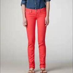 AEO Deep Coral Skinny Jean These jeans were a staple in my closet all year around! They're extremely comfortable and look great cropped or full length. Slight fading but it's consistent throughly the pants. Inseam 32.5 in. American Eagle Outfitters Jeans Skinny