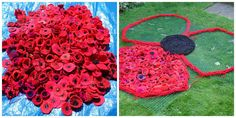 Gigantic red poppy under construction Since our last workshop we've been sorting out poppies. And including all big & small poppies - . Birthday Party At Park, Birthday Parties, Knitted Poppies, Extreme Knitting, Finger Knitting, You're Awesome, Red Poppies, Lily, Flowers