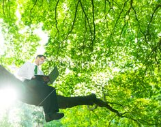 Green Businessman in touch with Nature Royalty Free Stock Photo