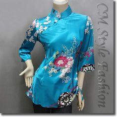 Chinese Cheongsam Qipao Floral Satin Tunic Top Blue