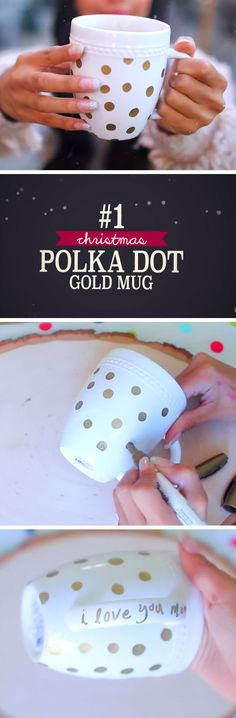 Polka Dot Gold Mug | DIY Christmas Gifts for Family | Easy to Make Christmas Gifts for Friends