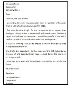 Best Resignation Letter Interesting Resignationletter Help Resignationlett On Pinterest
