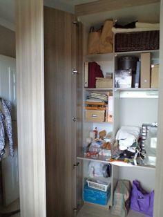 Sewing cupboard with doors open Built In Cupboards, Door Opener, Lockers, Locker Storage, Doors, Cabinet, Sewing, Furniture, Home Decor