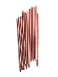 Rose gold copper paper straws.