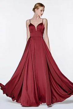 Floor Length A-Line Satin Gown Burgundy Double Slit Sweetheart Neck Satin Gown, Satin Dresses, Pagent Dresses, Floor Length Gown, Long Evening Gowns, Pleated Bodice, Perfect Prom Dress, A Line Gown, Prom Dresses Online