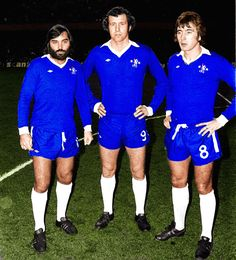 George Best in Chelsea kit for a testimonial match with Peter Osgood & Alan Hudson at Chelsea's Stamford Bridge, London