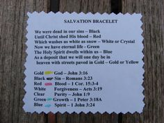 Salvation Bracelet - what the colors mean