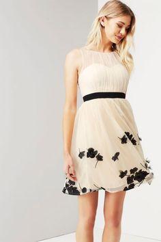 Little Mistress Beige Petal Applique Mini Dress - Little Mistress from Little Mistress UK