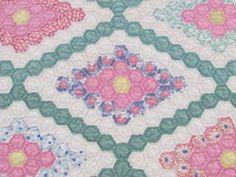The Finest Antique 1930s Jewel Box Pastel Flower Garden Quilt 10 12SPI   Vintageblessings