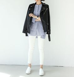 striped button down, leather jacket, white bottoms, white sneakers