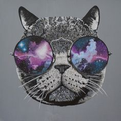 Hand painted Galaxy Cat from KT Design. 1 available.