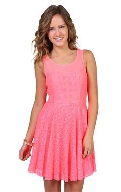 Deb Shops #neon #pink lace day #dress with an illusion waist and circle skirt $29.92