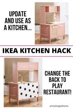 Ikea Toy Kitchen Hack, Ikea Hack Kids, Diy Kids Kitchen, Kitchen Sets For Kids, Play Kitchen Sets, Kitchen Hacks, Kitchen Gifts, Loft Playroom, Kids Restaurants