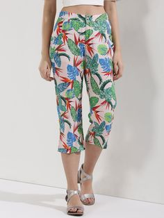 b0be32a0a43e03 Buy KOOVS Multi Tropical Print Cropped Trousers for Girls Online in India