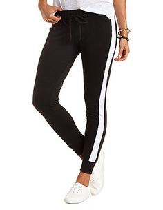 Side Stripe Skinny Sweatpants: Charlotte Russe