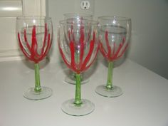 Wine Glasses Hand Painted Unique design set of by cjscraftycorner2, $20.00
