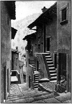 M.C. Escher – Street in Scanno, Abruzzi (periodo italiano)