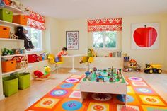 Interior, Elegant And Awesome Playroom With The Smart Awesome Beautiful Interesting And Great Design Ideas That Look So Comfortable Elegant And Fascinating With Some Furniture Wwith Big Shelf With Toys And Dolls Also Big Table ~ Decorating Ideas For Playrooms With The Cute And Nice Color Design