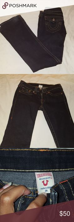 True Religion Dark Blue Jeans Dark blue jeans in good condition. It has yellow stitching with pops of red stitching. Gently used. True Religion Jeans
