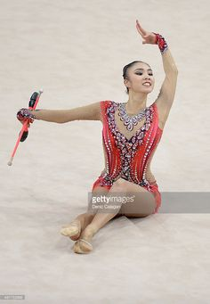 Sakura Hayakawa of Japan competes with clubs during the 34th Rhythmic Gymnastics World Championships 2015 on September 11, 2015 in Stuttgart, Germany.