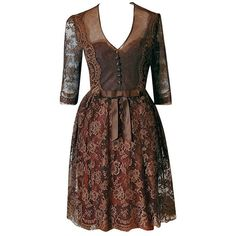 Pre-owned 1950's Maggy Rouff Haute-couture Brown Sheer Illusion... (4.410 BRL) ❤ liked on Polyvore featuring dresses, vintage, brown, aesthetic evening dresses, lace sleeve dress, couture cocktail dresses, cocktail dresses, evening cocktail dresses and brown cocktail dress