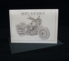 Motorcycle birthday card bmw r1200gs a6 6 x 4 103mm x 147mm harley davidson fatboy bw motorcycle birthday card a6 6 x 4 bookmarktalkfo Image collections