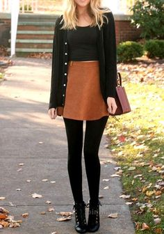 women's white crop top, brown mini skirt black leggings, and black buttoned cardigan outfit Leggings Outfit Winter, Legging Outfits, Black Tights Outfit, Winter Skirt Outfit, Black Leggings, Leggings With Skirt, Dress Winter, Winter Dresses, Leggings Fashion