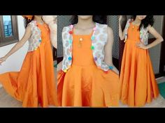 Short pom pom jacket with umbrellacut long gown cutting and stitching easy tutorial in hindi Churidar Designs, Kurti Neck Designs, Dress Neck Designs, Blouse Designs, Simple Kurti Designs, Lehenga Designs, Kurti With Jacket, Gown With Jacket, Jacket Style