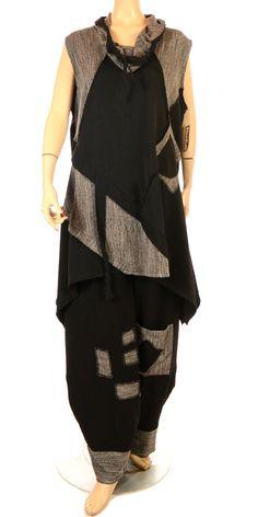 Sarah Santos Fabulous Black & Black/White Tapered Hem Trouser