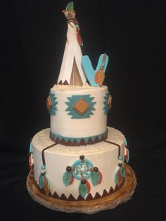 Little Indian first birthday Party. Fondant tee-pee cake topper. Fondant dream catchers.