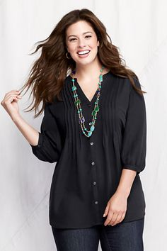 Women's Plus Size 3/4-sleeve Splitneck Tucked Tunic from Lands' End.  Has a cute back detail.