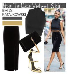 """Velvet Skirt with Emily Ratajkowski..."" by nfabjoy ❤ liked on Polyvore featuring Studio, WearAll, Yves Saint Laurent, women's clothing, women's fashion, women, female, woman, misses and juniors"