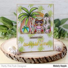 Hi and Happy Friday! We actually have sunshine today! Such a nice change from the overcast skies we had lately. Mama Elephant Cards, Leaf Stencil, Pretty Pink Posh, Beach Ball, Tropical Birds, Card Maker, Homemade Cards, Card Stock, Sunshine