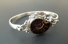 Ammonite Fossil Bangle  Handmade Sterling Silver and by fishsilver, $140.00