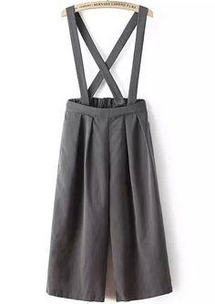 Grey Strap Loose Wide Leg Jumpsuit