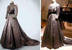 Day dress with train, ca. 1890s. Gray silk satin trimmed with lace and braid. Brown cotton twill lining. Museo do Traje (Portugal) and mimic-of-modes.blogspot.com