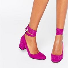 Buy London Rebel Tie Ankle Mid Heel Shoe at ASOS. Get the latest trends with ASOS now. Kitten Heel Shoes, Mid Heel Shoes, Suede Shoes, Flat Shoes, Shoe Boots, Shoes Heels, Flats, Work Pumps, Dress And Heels