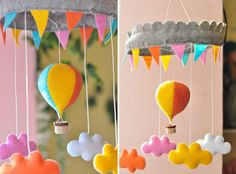 Felt hot air balloon and clouds mobile with tiny prisms hanging from clouds Baby Mobile, Felt Mobile, Cloud Mobile, Craft Projects, Projects To Try, Sewing Projects, Mobiles, Felt Crafts, Diy Crafts