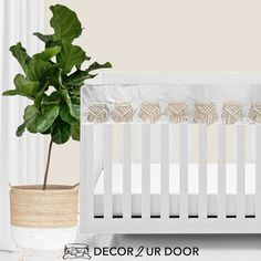 The boho nursery you've been dreaming of. Our Natural and White Macrame Baby Bedding set is a Decor 2 Ur Decor EXCLUSIVE. We adore the texture of the macrame featured on the rail cover and crib skirt. We're in boho baby bedding heaven. Girl Crib Bedding Sets, Custom Baby Bedding, Girl Cribs, Baby Cribs, Nursery Bedding, Crib Rail Cover, Thing 1, Baby Girl Blankets