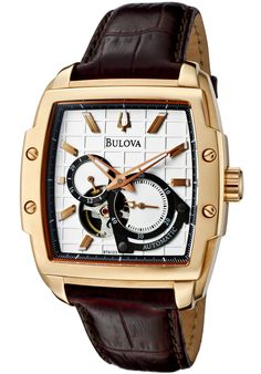 Bulova 97A103 Watches,Men's Automatic Chronograph Light Silver Dial Brown Genuine Leather, Chronograph Bulova Automatic Watches
